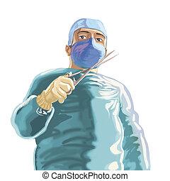 chirurgien, vert