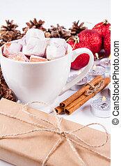 chocolat chaud, tasse, guimauves