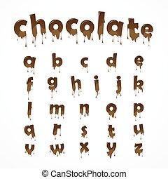 chocolat, fondu, alphabet