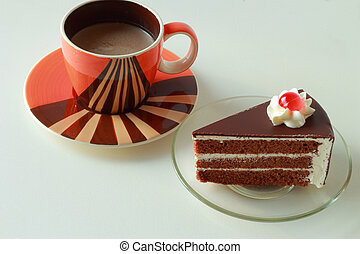 chocolat, gâteau café, chaud