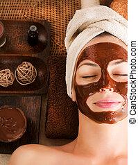 chocolat, masque, facial, spa
