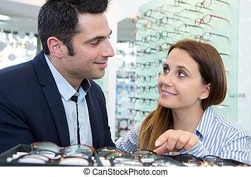 choisir, femme, lunettes, supermarché, homme, vin
