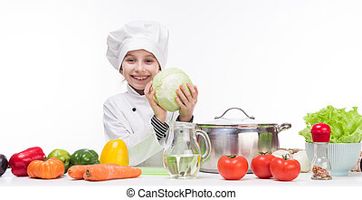 chou, peu, sourire, girl-cook, mains