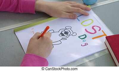 chouchou, affiche, écrit, enfant, disparu