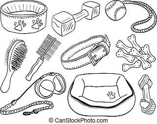 chouchou, -, chien, illustration, accessoires, équipement, hand-drawn