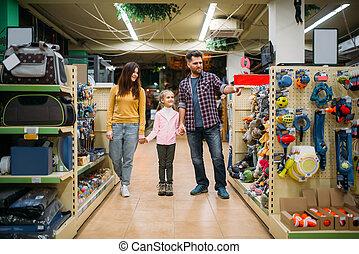 chouchou, clients, magasin, famille, heureux