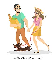 chouchou, couple, rue, promenade chien