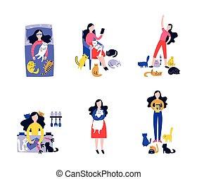 chouchou, jeune, isolé, dessin, beaucoup, femme, ensemble, chats, chat, dame