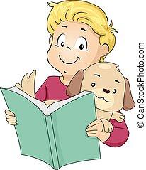 chouchou, livre, lecture, chien, gosse