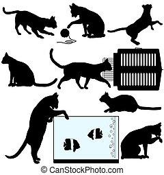 chouchou, objets, silhouette, chat