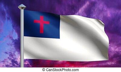 chrétien, &, ciel, drapeau, dramatique, boucle