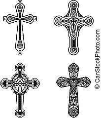 chrétien, icônes, orné, croix