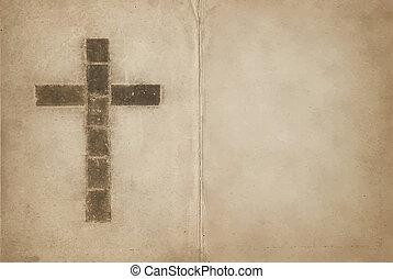 chrétien, livre, vieux, croix