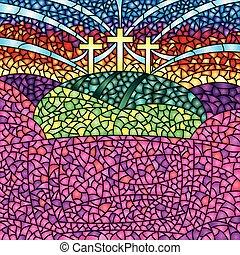 christ, coloré, image, taché, -, verre, thème, vecteur, crucifixion