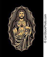 christ, jésus, noir, illustration, vecteur