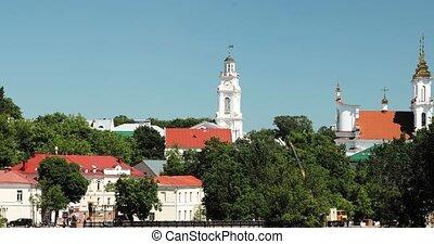 christ, zoom, belarus., ville, day., été, vitebsk, résurrection, salle, église, zoom, ensoleillé