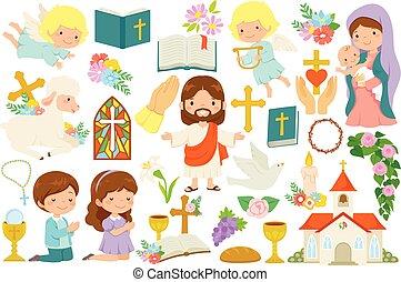 christianisme, clipart, paquet