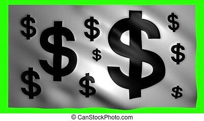 chroma, écran, drapeau, symboles, clef verte, dollar