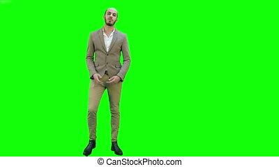 chroma, écran, projet, appareil photo, vert, présentation, homme affaires, key.