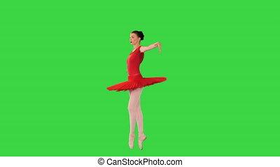 chroma, écran, vert, marche, pointes, ballerine, rouges, tutu, key.