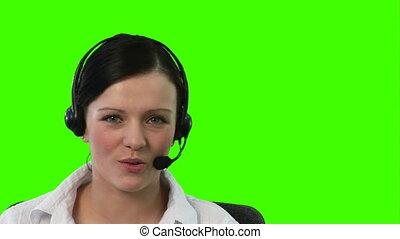 chroma, casque à écouteurs, métrage, femme, clã©