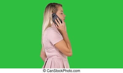 chroma, jeune, écran, appeler, key., vert, dame, avoir
