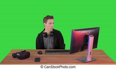 chroma, key., vert, gamer, perdre, écran, jouant jeu