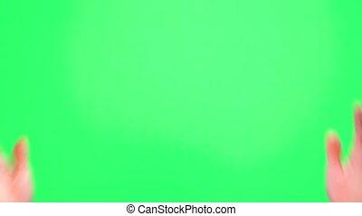 chroma, mâle, vert, arrière-plan., chromakey, applaudissements, applaudir transmet, clã©, écran