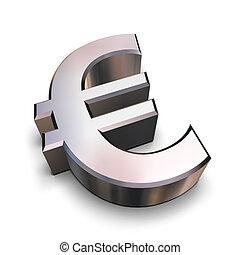 chrome, symbole, 3d, euro