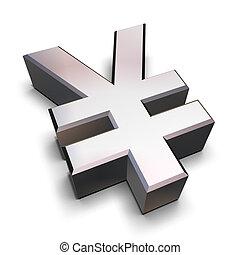 chrome, symbole, 3d, yen