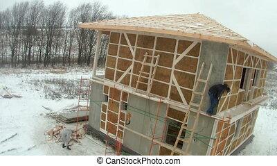 chronocinématographie, bales., plancher, paille, maison, installation, mur, seconde, construction, cladding, panneaux