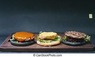 chronocinématographie, cheeseburger, une, tho, hamburgers, noir, 4k, fond, résolution, ?ooking