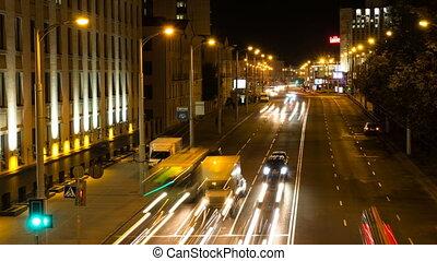 chronocinématographie, coup, road., voitures, zoom, trafic, dehors