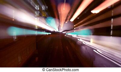 chronocinématographie, fait, coup, modèle, scène abstraite, rue, londres, nuit, trafic