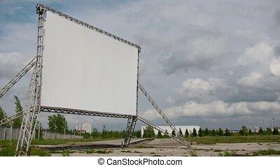 chronocinématographie, nuages, cinéma, -, écran, ensoleillé, panneau affichage, voiture, devant, ouvert, jour, vide