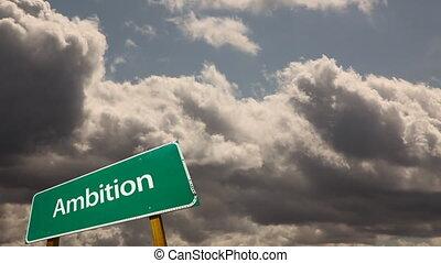 chronocinématographie, nuages, &, série, motivation, signe, vert, dépassement, route