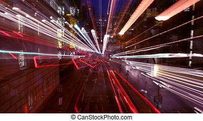 chronocinématographie, overlayed, coup, scène nuit, rue, trafic, graphiques, londres