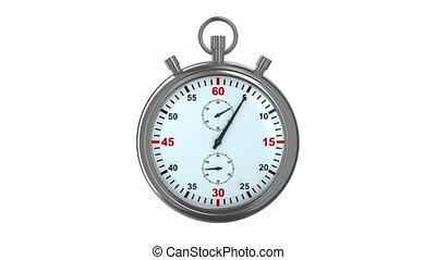 chronomètre, arrière-plan., blanc, render, 3d