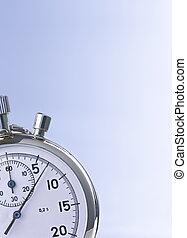 chronomètre, bleu, isolé