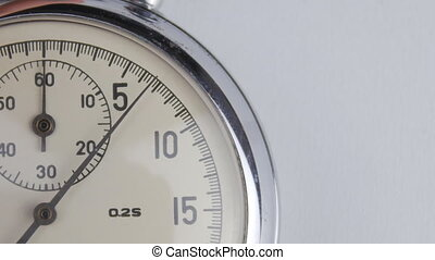 chronomètre, fin, blanc, haut, fond