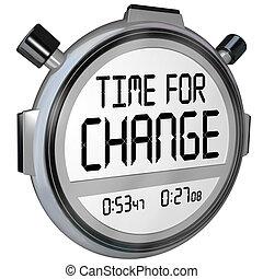 chronomètre, temps, changement, minuteur, horloge