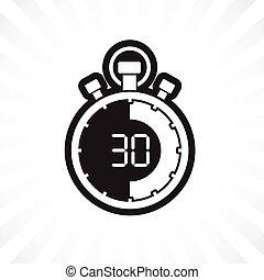 chronomètre, trente, minute