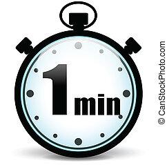 chronomètre, vecteur, minute, une