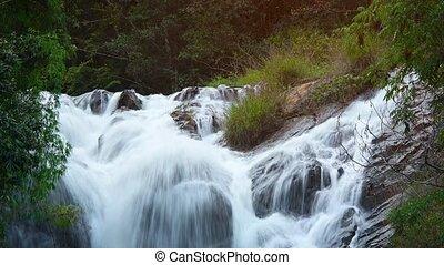 chute, chute eau, datanla, rochers, sur, whitewater, rideaux, son