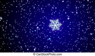 chute neige, tomber, fond, flocon de neige