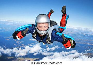 chutes, par, skydiver, air