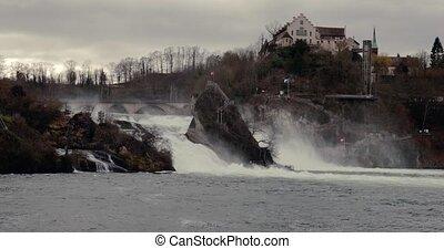 chutes, suisse, rhin, chute eau