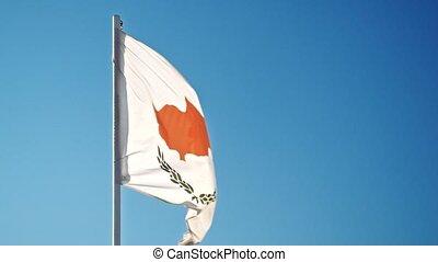 chypriote, cyprus., officiel, doucement, drapeau ondulant, wind.