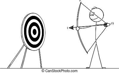 cible, dessin animé, but, flèche, homme, tir, illustration, pointage, bow., ou, homme affaires, reussite, vecteur