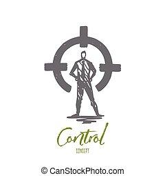 cible, main, cercle, but, arrière, vue, vector., concept., dessiné, isolé, contrôle